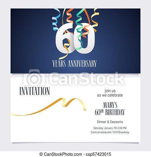 60 Años Por Invitación Al Aniversario Una Invitación De 60
