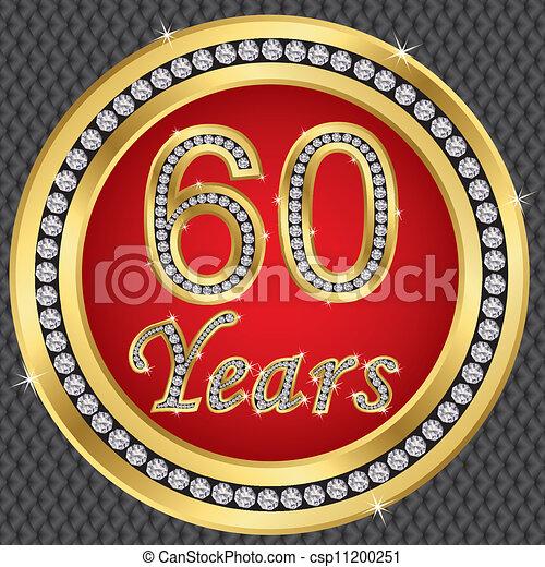 60 Years Anniversary Happy Birthday Golden Icon With Diamonds Vector