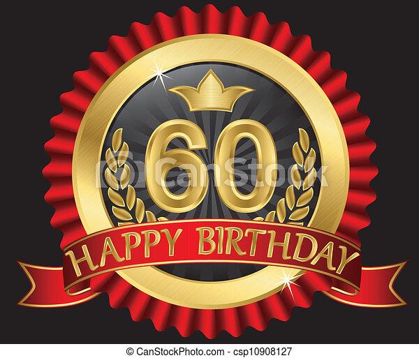60 years happy birthday golden labe - csp10908127