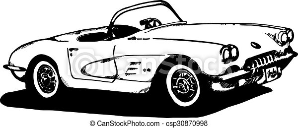 60 s corvette sketch hand drawn 1960 era corvette pen and ink vector rh canstockphoto com 2016 corvette clipart corvette car clipart