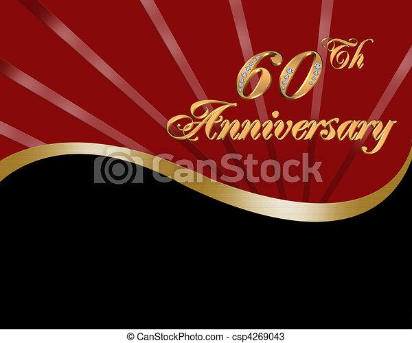 60th, anniversaire mariage, invitation - csp4269043