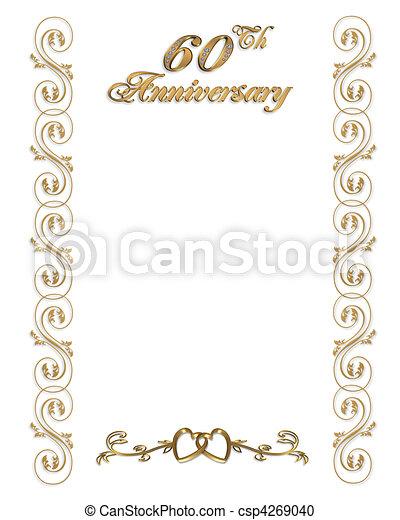 stock illustration von 60th, umrandungen, jubiläum, einladung, Einladung