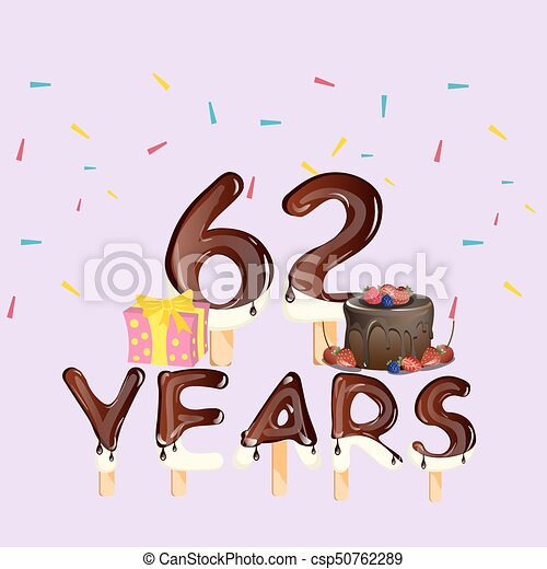 62 Years Happy Birthday Card Vector Illustration