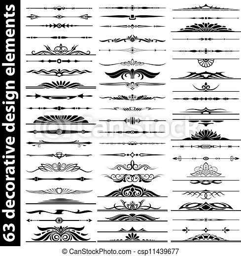 63 decorative design elements set - csp11439677