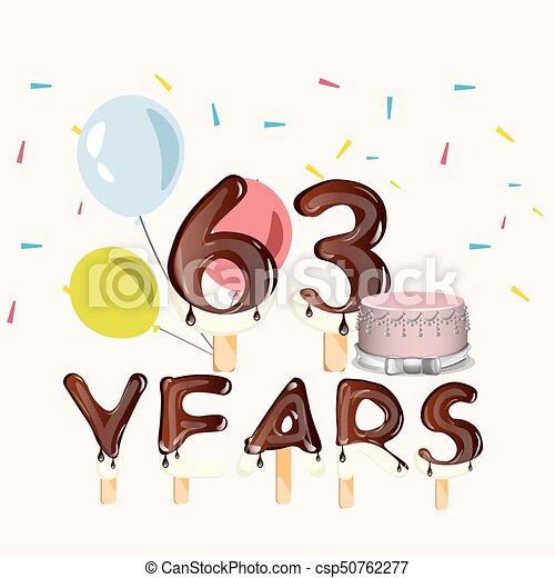 63 Years Happy Birthday Card
