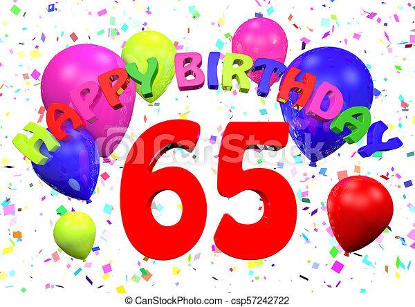 65 happy birthday 3d render.