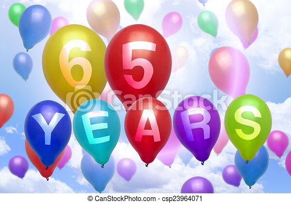 65 Years Happy Birthday Balloon Colorful Balloons