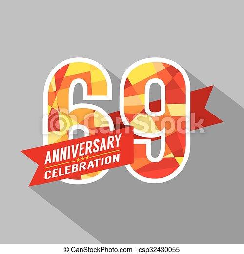 vector 69th years anniversary celebration csp32430055