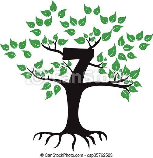 7 Years Anniversary Tree Logo - csp35762523