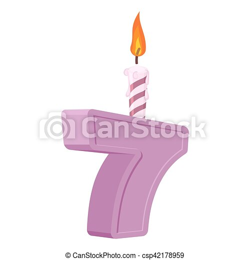 7 Years Birthday Number With Festive Candle For Holiday Cake Seven Anniversary