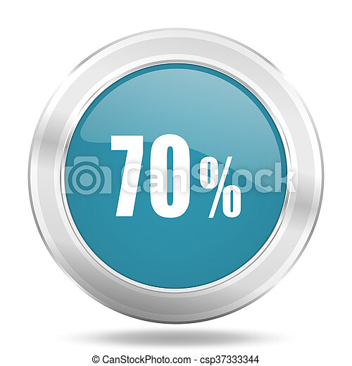 70 percent icon, blue round glossy metallic button, web and mobile app design illustration - csp37333344