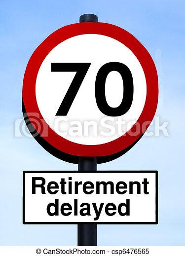 70, retraite, roadsign, retardé - csp6476565