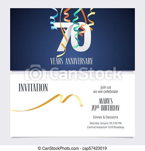 Vector De Invitaciones De 70 Años Una Invitación De 70 Años