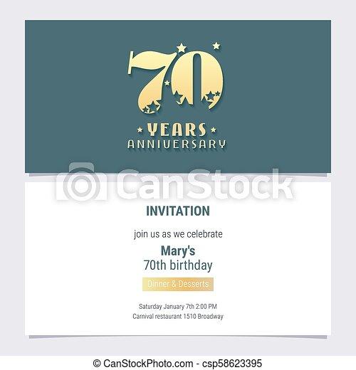 Vector De Invitaciones De 70 Años 70 Años De Ilustración De