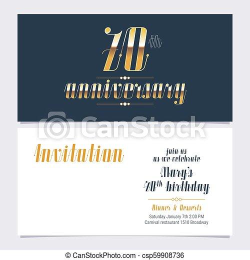 70 Years Anniversary Invitation Vector