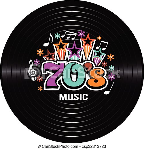 70s music discography. vector illustration.
