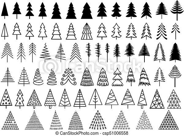 72 Christmas trees, vector set - csp51006558