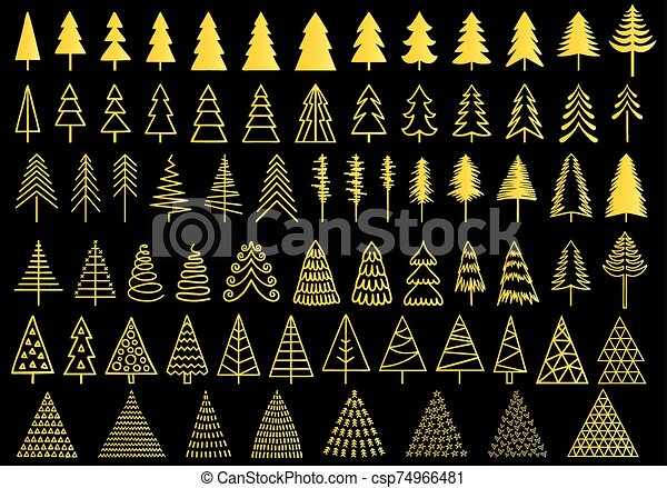 72 gold Christmas trees, vector set - csp74966481