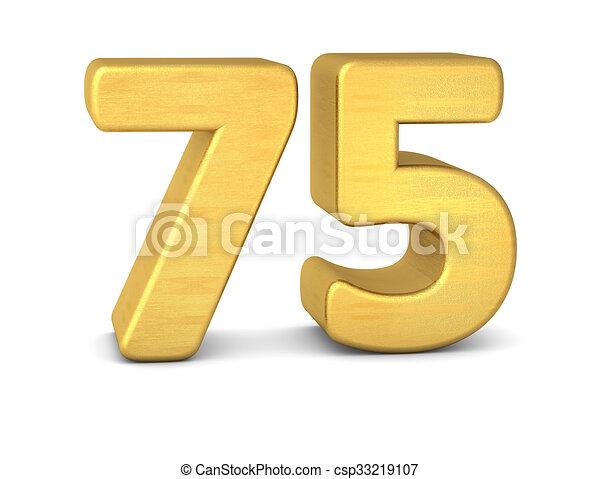 75, getal, goud, 3d.