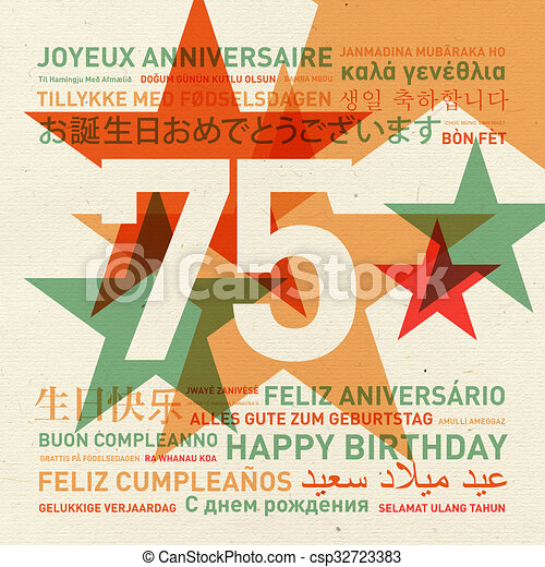 75th Anniversary Happy Birthday Card From The World 75th