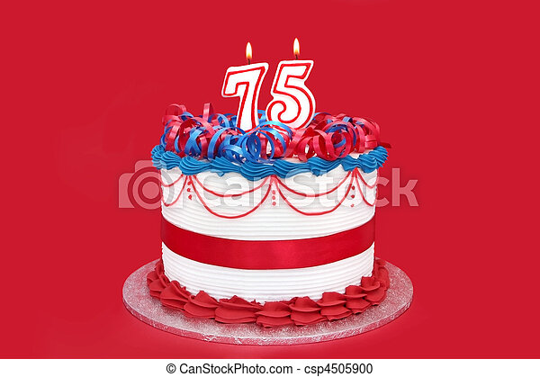 75th Cake With Numeral Candles On Vibrant Red Background