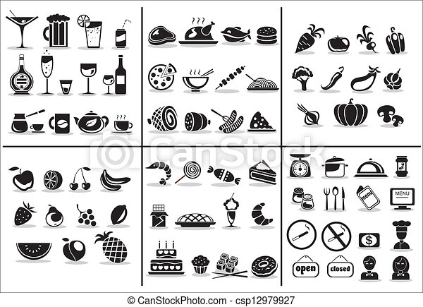 77 food and drink icons set - csp12979927