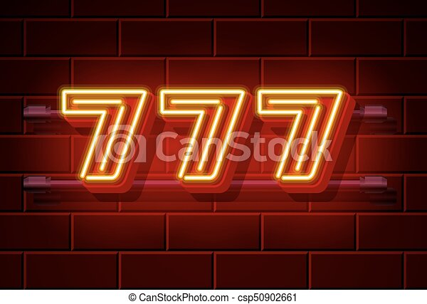 777, 娱乐场, signboard, 胜利者, 氖, 三倍, sevens. - csp50902661