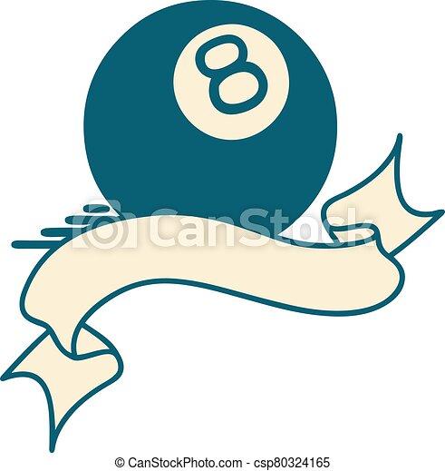 8つのボール, 旗, 入れ墨 - csp80324165