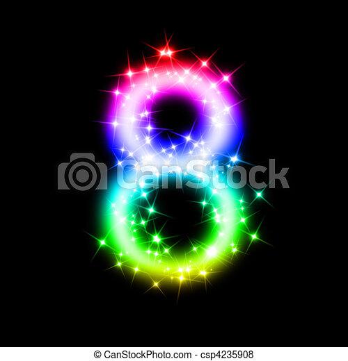 8 きらめき 数 虹 レンダリングした 数 イラスト 3d