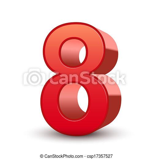 8, 光沢がある, 数, 赤, 3d - csp17357527