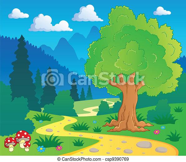 8, cartone animato, paesaggio, foresta - csp9390769