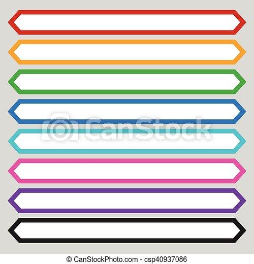 8 color octagonal button banner shape colorful button banner