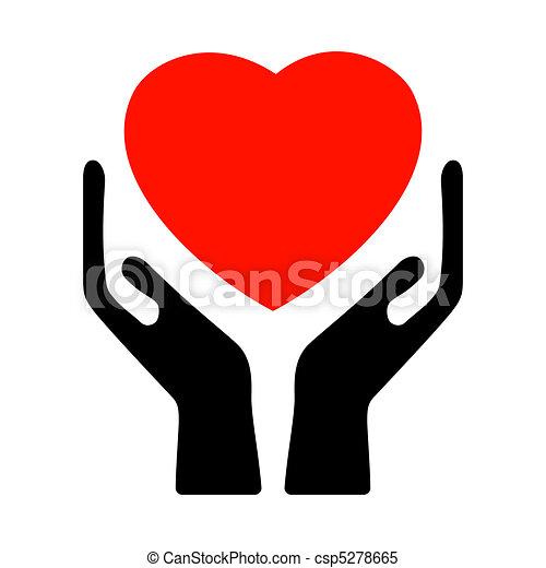 8, heart., eps, 手を持つ - csp5278665