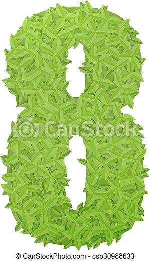 8, hojas, verde, número, el consistir. Hojas, número,... vectores ...