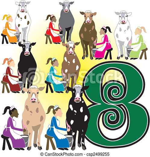 8 ladies milking the 12 days of christmas vector illustration rh canstockphoto com 12 days of christmas clipart border Twelve Days of Christmas School