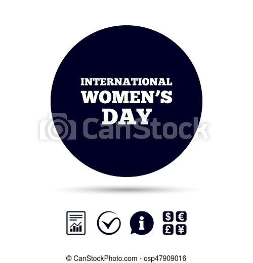 8 March International Womens Day Sign Icon Holiday Symbol Report