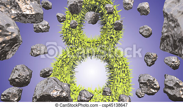 8 March symbol. Figure of eight made of green city blocks flying in the space with asteroids. Can be used as a decorative greeting grungy or postcard for international Woman's Day. 3d illustration - csp45138647
