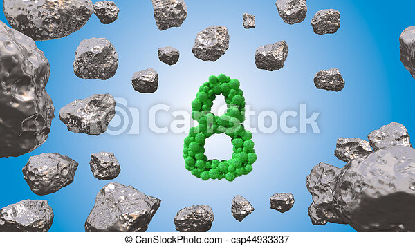8 March symbol. Figure of eight made of green spheres flying in the space with asteroids. Can be used as a decorative greeting grungy or postcard for international Woman's Day. 3d illustration - csp44933337