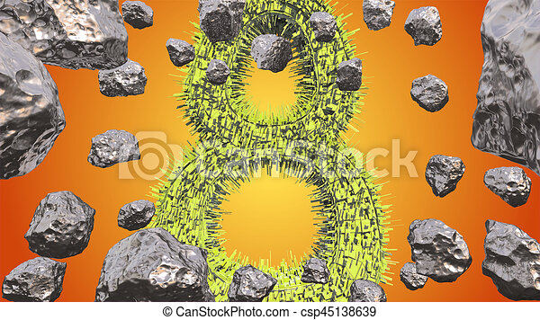 8 March symbol. Figure of eight made of green city blocks flying in the space with asteroids. Can be used as a decorative greeting grungy or postcard for international Woman's Day. 3d illustration - csp45138639