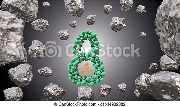 8 March symbol. Figure of eight made of green spheres flying in the space with asteroids. Can be used as a decorative greeting grungy or postcard for international Woman's Day. 3d illustration - csp44932382
