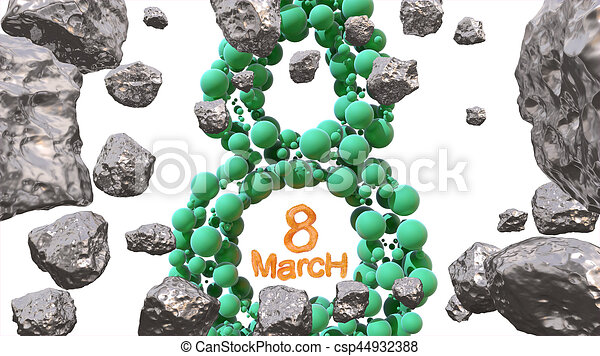 8 March symbol. Figure of eight made of green spheres flying in the space with asteroids. Can be used as a decorative greeting grungy or postcard for international Woman's Day. 3d illustration - csp44932388