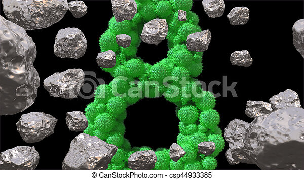 8 March symbol. Figure of eight made of green spheres flying in the space with asteroids. Can be used as a decorative greeting grungy or postcard for international Woman's Day. 3d illustration - csp44933385