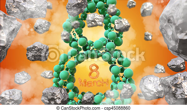 8 March symbol. Figure of eight made of green spheres flying in the space with asteroids. Can be used as a decorative greeting grungy or postcard for international Woman's Day. 3d illustration - csp45088860