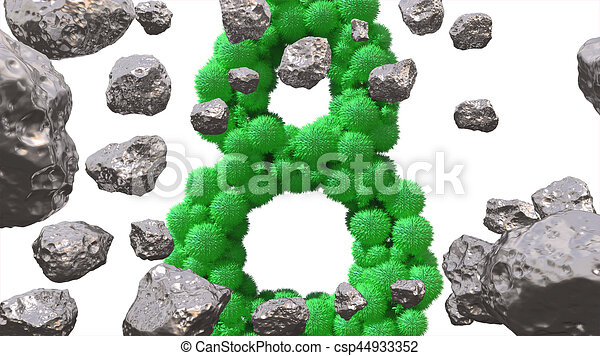 8 March symbol. Figure of eight made of green spheres flying in the space with asteroids. Can be used as a decorative greeting grungy or postcard for international Woman's Day. 3d illustration - csp44933352