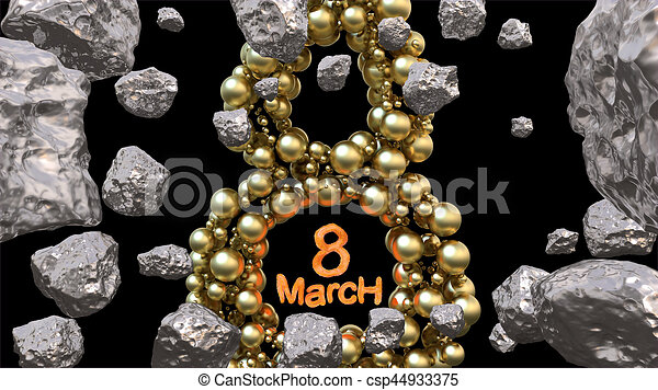 8 March symbol. Figure of eight made of golden spheres flying in the space with asteroids. Can be used as a decorative greeting grungy or postcard for international Woman's Day. 3d illustration - csp44933375