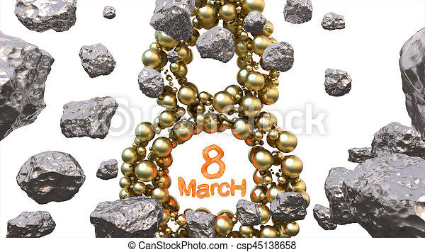 8 March symbol. Figure of eight made of golden spheres flying in the space with asteroids. Can be used as a decorative greeting grungy or postcard for international Woman's Day. 3d illustration - csp45138658
