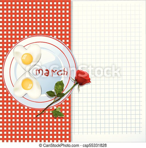 8 march template with eggs and red rose 8 march happy womens day