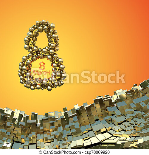 8 March word made of golden spheres flying in the space over abstract mountain landscape background of metal boxes. Decorative greeting postcard for international Woman's Day. 3d illustration - csp78069920