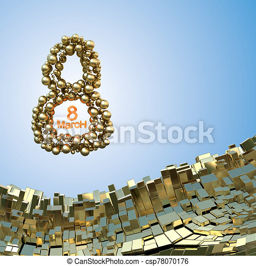8 March word made of golden spheres flying in the space over abstract mountain landscape background of metal boxes. Decorative greeting postcard for international Woman's Day. 3d illustration - csp78070176