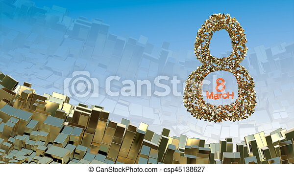 8 March word made of golden stones flying in the space over abstract mountain landscape background of metal boxes. Decorative greeting postcard for international Woman's Day. 3d illustration - csp45138627